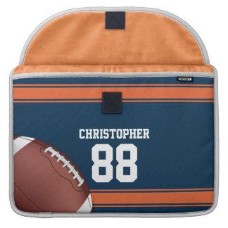 Blue and Orange Stripes Jersey Grid Iron Football MacBook Pro Sleeve