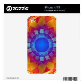 Blue and Orange Sun Pattern iPhone 4 Decal