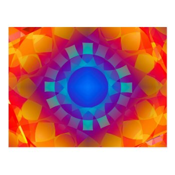 Blue And Orange Sun Pattern Postcard by RainbowChild_Art at Zazzle