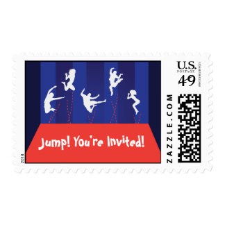 Blue and Orange Trampoline Party Postage Stamps
