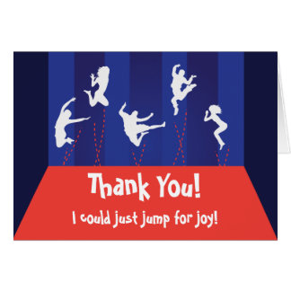 Blue and Orange Trampoline Party Thank You Card