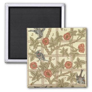 Blue and orange trellis wallpaper design, 1864 2 inch square magnet