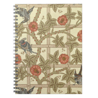Blue and orange trellis wallpaper design, 1864 notebook