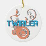 Blue and Orange Twirler One-Sided Ornament