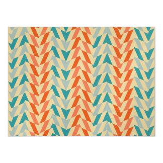 Blue and orange vintage pattern custom invites