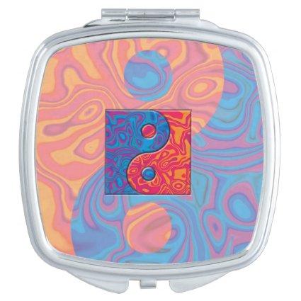 Blue and Orange Yin Yang Symbol Compact Mirror