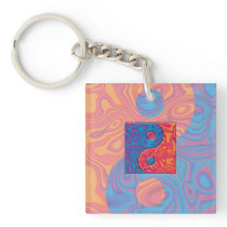 Blue and Orange Yin Yang Symbol Keychain