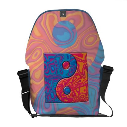 Blue and Orange Yin Yang Symbol Messenger Bags