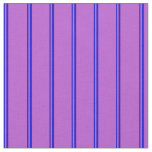 [ Thumbnail: Blue and Orchid Colored Stripes/Lines Pattern Fabric ]