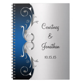 Blue and Ornate Silver Swirls Wedding Guest Book Note Books