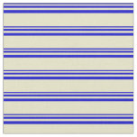 [ Thumbnail: Blue and Pale Goldenrod Colored Stripes Fabric ]