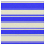 [ Thumbnail: Blue and Pale Goldenrod Striped/Lined Pattern Fabric ]