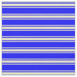 [ Thumbnail: Blue and Pale Goldenrod Stripes/Lines Pattern Fabric ]