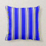 [ Thumbnail: Blue and Pale Goldenrod Stripes/Lines Pattern Throw Pillow ]