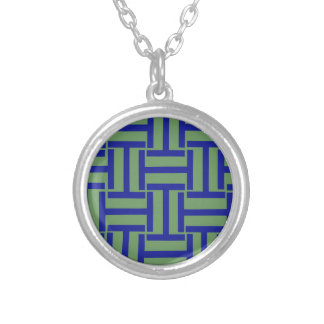 Blue and Pea Green T Weave Round Pendant Necklace