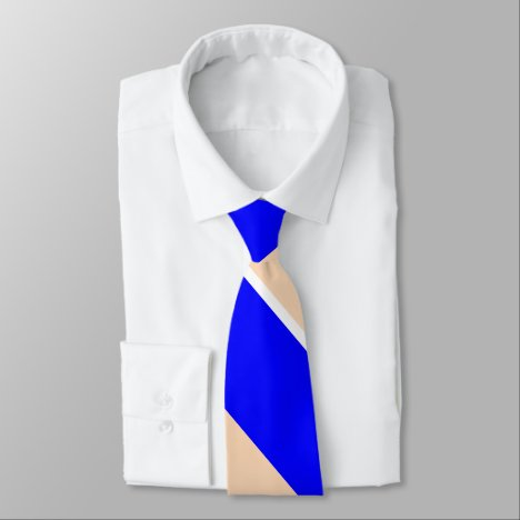 Blue and Peach Broad Diagonally-Striped Tie