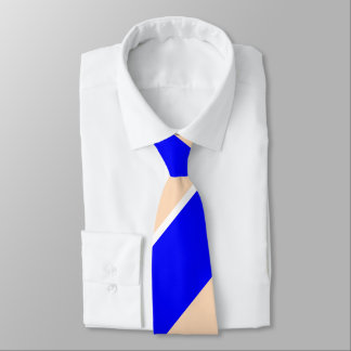 Blue and Peach Broad Regimental Stripe Neck Tie