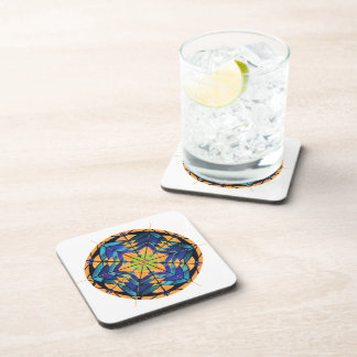 Blue and Peach Dreamcatcher Square Coasters
