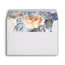 Blue and Peach Floral Botanical Elegant Wedding Envelope