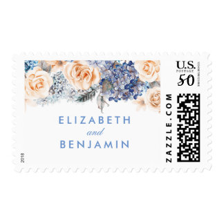 Blue and Peach Floral Bouquet Wedding Postage