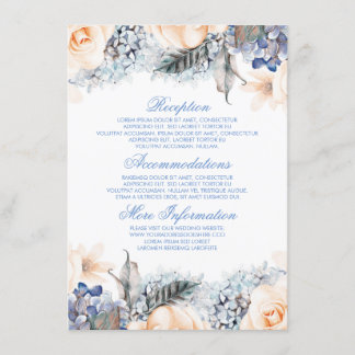 Blue and Peach Floral Wedding Information Guest Enclosure Card