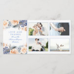 """Blue and Peach Floral Wedding Thank You<br><div class=""""desc"""">Peach and blue flowers elegant watercolor wedding photo cards</div>"""