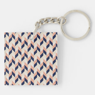 Blue and Peach Herringbone Double-Sided Square Acrylic Keychain