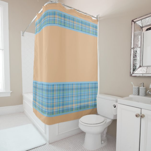 Blue And Peach Pastel Plaid Pattern Shower Curtain Zazzle Com