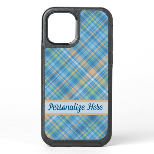Blue And Peach Pastel Plaid Personalized OtterBox Symmetry iPhone 12 Case