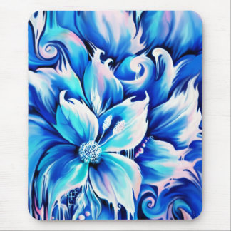Blue and pink abstract floral painting. mouse pad