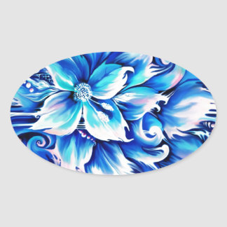 Blue and pink abstract floral painting. oval sticker