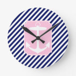 Blue and Pink Anchor Clocks