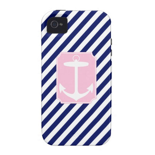 Blue and Pink Anchor iPhone 4/4S Covers