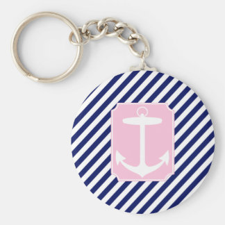 Blue and Pink Anchor Keychain