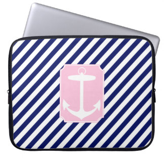 Blue and Pink Anchor Computer Sleeves