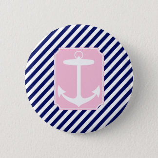 Blue and Pink Anchor Pinback Button