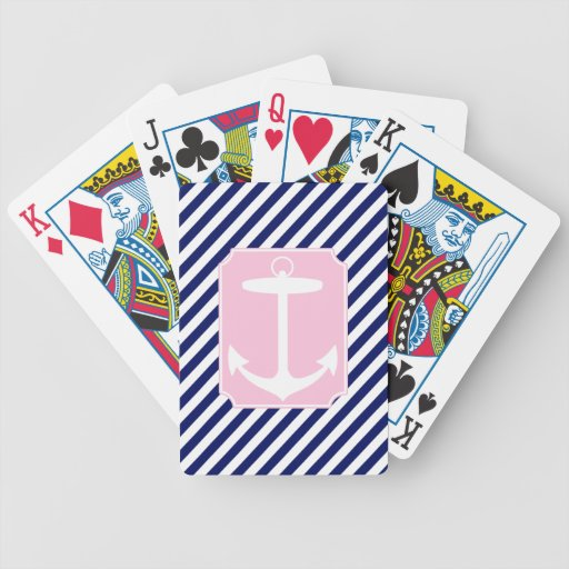 Blue and Pink Anchor Poker Cards