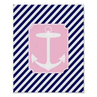 Blue and Pink Anchor Poster