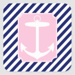 Blue and Pink Anchor Square Sticker