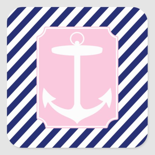 Blue and Pink Anchor Square Stickers