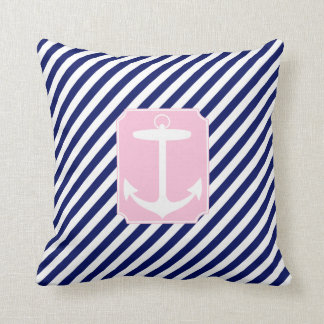 Blue and Pink Anchor Throw Pillows