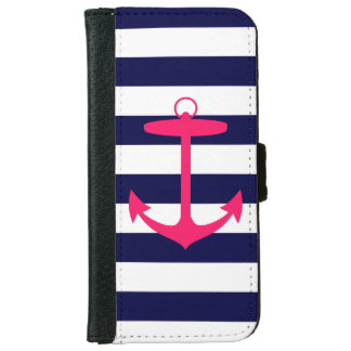 Blue and Pink Anchor Wallet Phone Case For iPhone 6/6s
