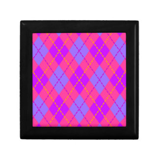 Blue and Pink Argyle Gift Box