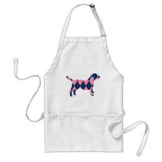 Blue and Pink Argyle Labrador Dog T-Shirt Adult Apron