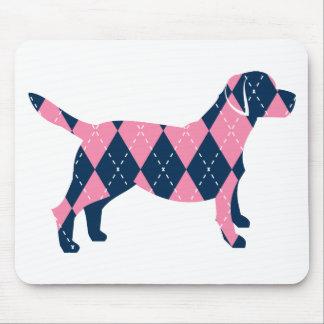 Blue and Pink Argyle Labrador Dog T-Shirt Mouse Pad