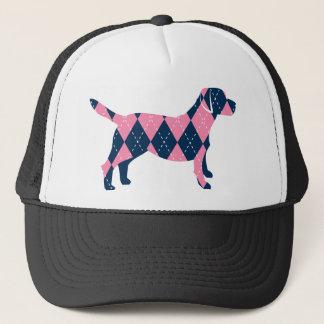 Blue and Pink Argyle Labrador Dog T-Shirt Trucker Hat
