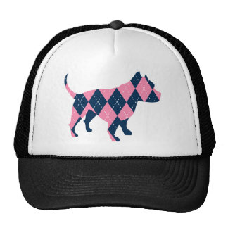 Blue and Pink Argyle Pitbull Dog T-Shirt Trucker Hat