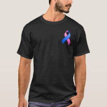 Blue and Pink Awareness Pocket Ribbon T-Shirt
