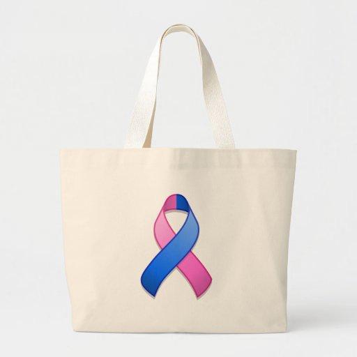 Blue and Pink Awareness Ribbon Bag