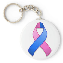 Blue and Pink Awareness Ribbon Keychain